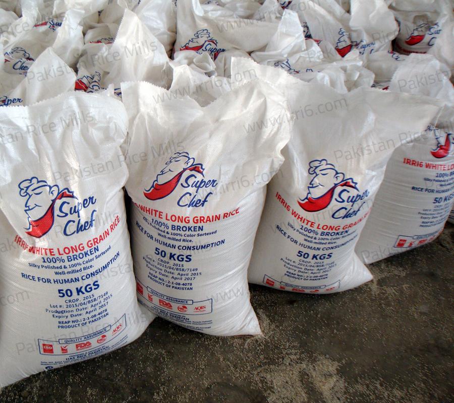 Shipment for Pakistan Long Grain IRRI-6 White Rice, 100% Broken Rice Exporters.